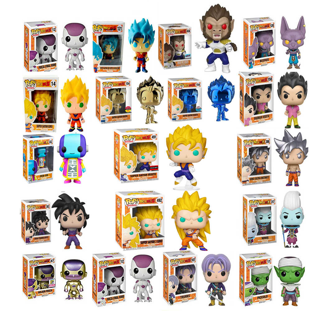 Funko Pop Colecionáveis Modelo Brinquedos FREEZA Dragon Ball SUPER SAIYAN GOKU GRANDE MACACO VEGETA Action Figure Toy Boy
