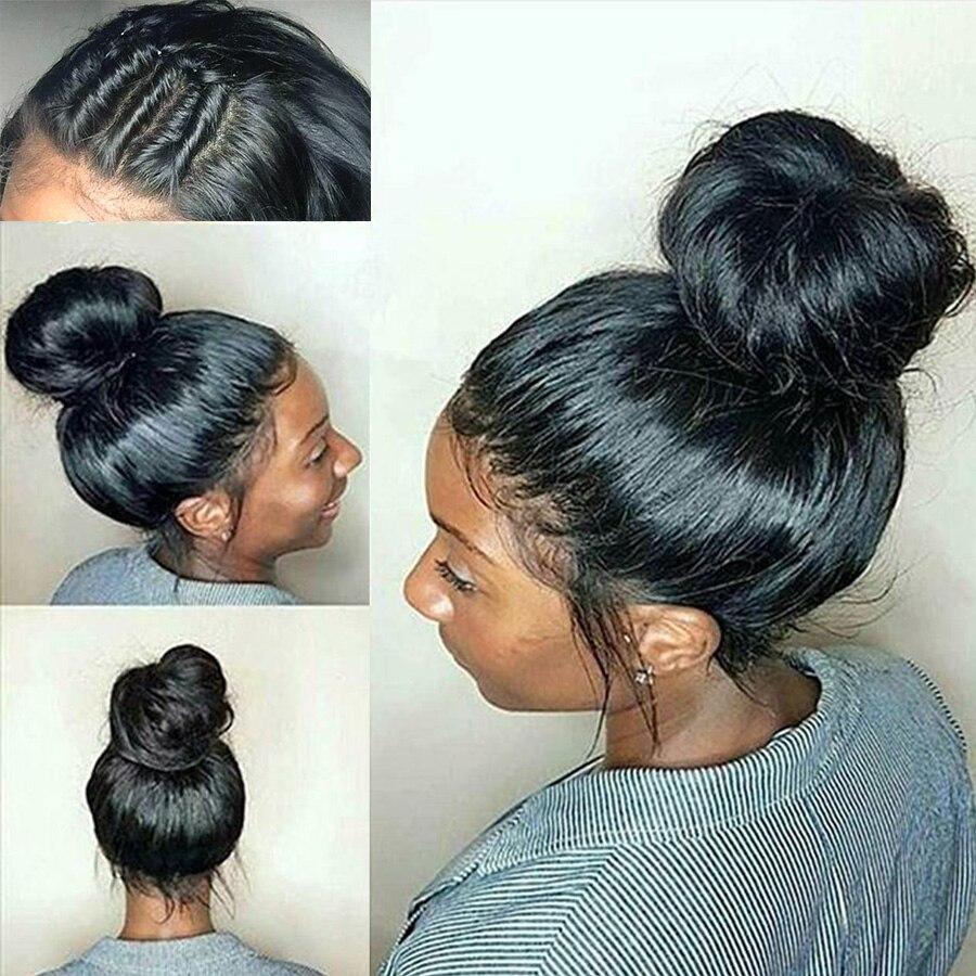 RXY Синтетические волосы на кружеве человеческих волос парики Full lace человеческих волос парики для женский, черный предварительно сорвал Бра...