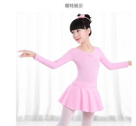 1pcs/lot free shipping children solid ballet dance costumes girl long sleeve spring autumn ballet dancing clothing