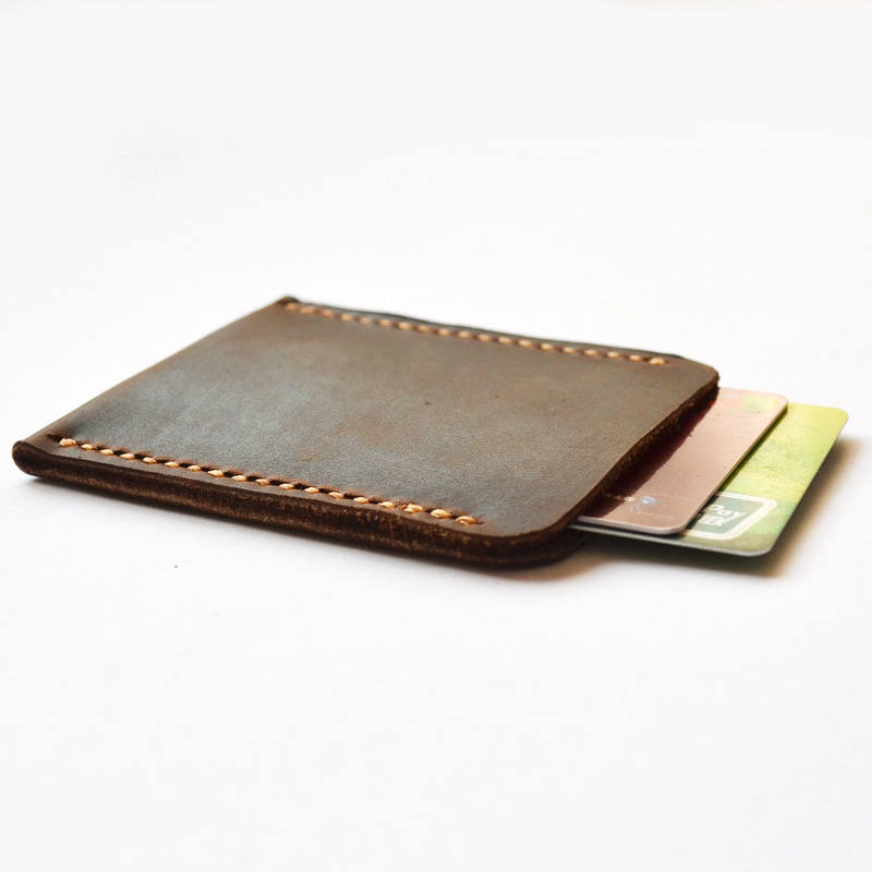 Retro Handmade Crazy Horse Cow Leather Slim Card Holder Top Quality Creative Card Protector Bank Card Case
