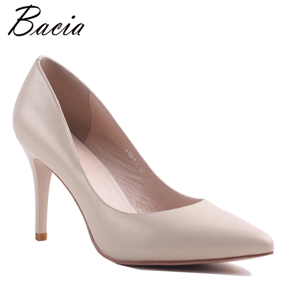 Bacia New 9cm high heel Sheepskin Pink Nude Party Shoes Wedding Pumps Pointed toe Sexy Women's Pumps Ladies Fashion Heels MC032 стоимость