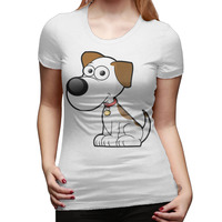 Animal Dog Custom Cotton Printed O Neck Short Sleeve White T Shirts Women Casual Hipster Die