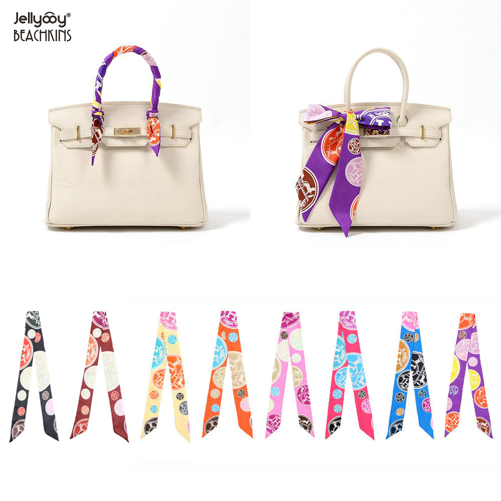 Jellyooy Beachkins New Fashion Print Classic Design Silk Twill   Scarves   Handbags   Wrap   Twill   Scarf   For Bags 2pcs a Pair