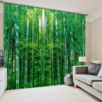green bamboo forest High quality custom 3d curtain fabric
