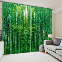 green bamboo forest High quality custom 3d curtain fabric