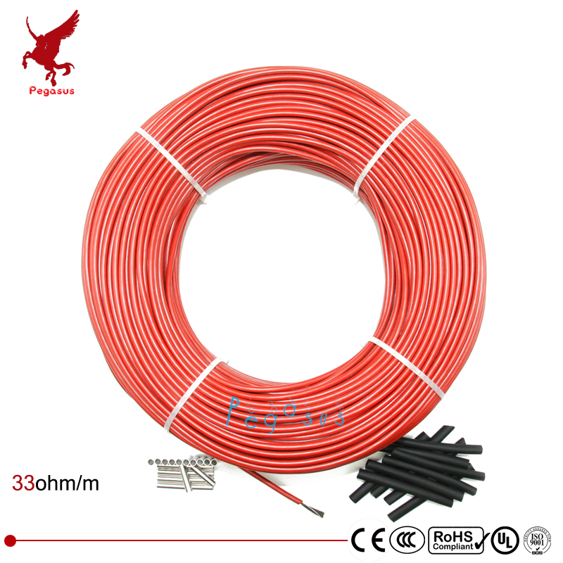10-100meter Carbon fiber heating cable Silicon rubber heating cable5V12V24V220V Heating cable 33ohm/m Heating wire low cost 12k20m 73w 33ohm hydrogen rubber carbon fiber heating wire safety and environmental protection the hot wire temperature floor