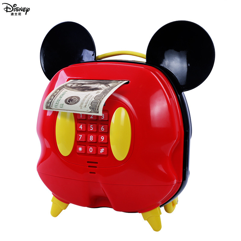 Disney pretend play Money Banking Toy Mickey Piggy Bank Children s Password Lock Girls Birthday Gifts