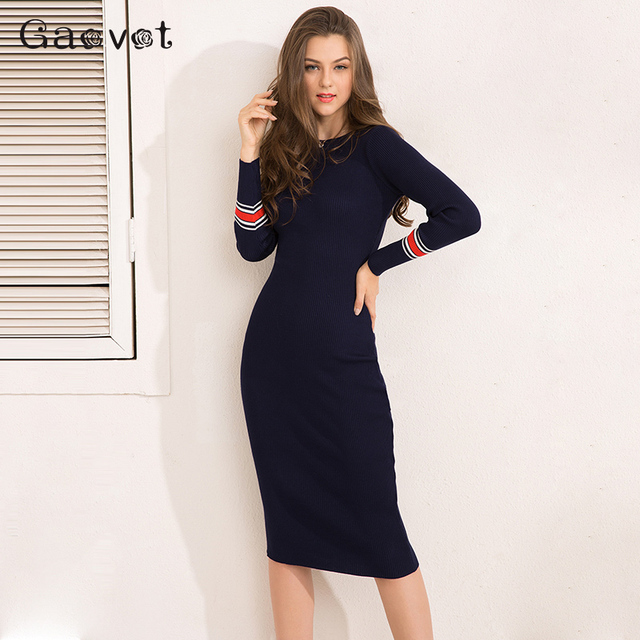 Gracegirl Spring Women Dresses Series Striped Fitness Elegant Knitted Sweater Dress Casual Bodycon Slim Midi Vestidos SA231095