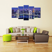 5 Pieces Canvas Painting Wall Art Beautiful Tokyo Bridge City Night View The Picture Print On