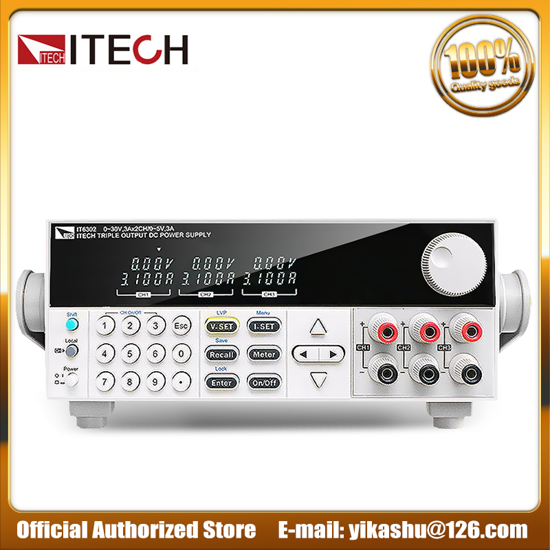 Power Adapter Authentic ITECH IT6302 3 Channels Programmable DC Switching Power Supply 30V 3A 90W 2CH