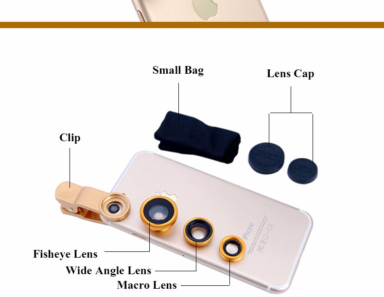 New Fish Eye lens,Wide Angle + Clear Macro Lens For Iphone 5s 6 7 Universal 3 in 1 Phone Camera Len For Sansung Huawei Sony HTC 10