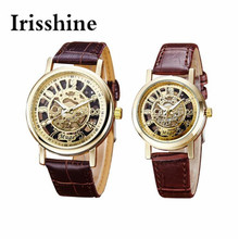 Irisshine i0687 1 pair men and women Classic Wrist Hollow Skeleton Mechanical Leather Strap Wrist Watch couple Watches gift