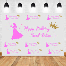 купить NeoBack Happy 16th Birthday Party Banner Photography Backdrops Pink Princess Crown Repeat Background for Photo Shoots по цене 634.88 рублей