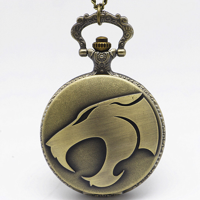 New Arrival Bronze Wolf Mouth Quartz Pocket Watch Pendant Necklace Colorful Dial