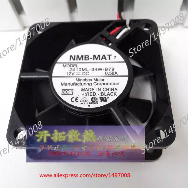 Free Shipping For  NMB 2410ML-04W-B79, EQ1 DC 12V 0.58A 3-wire 60mm 60x60x25mm Server Square Cooling fan