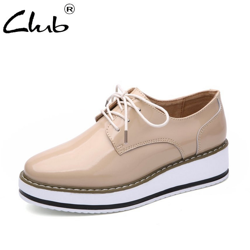Club Women Sneakers Patent Leather Oxford Shoes For Women Lace-up Casual Flat Shoes Women Platform Shoes Zapatos Mujer e lov women casual walking shoes graffiti aries horoscope canvas shoe low top flat oxford shoes for couples lovers