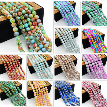 Wholesale glass beads round loose spacer beads pattern for making jewelry DIY bracelet necklace 4mm6mm8mm10mm