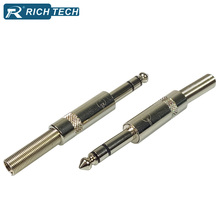 6.35 Plug Stereo 5pcs Metal 1/4 inch Connector 6.35mm Male Audio Plug Wire Connector 1/4 inch Soldering Male 6.35 Plug
