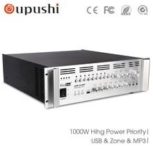USB-10.0AP 8 zona 1000 w public address amplificador sintonizador com usbt para orador teto oupushi