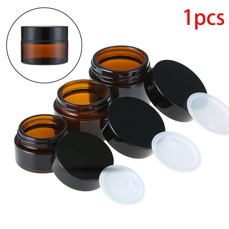 1pcs X Empty 5g 10g 15g 20g 30g 50g Amber Glass Jars Containers Cosmetic Cream Lotion Powder Bottles Pots Travel Container