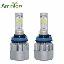AmmToo H4 фар автомобиля H7 светодио дный лампы Супер яркий H1 H3 H11 9005 9006 72 Вт автомобиля светодио дный лампы 6000 К Россия локальная