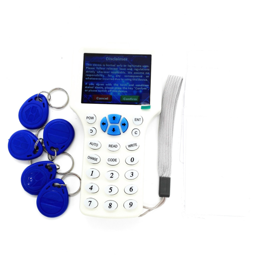 English Language LCD Screen RFID Reader Writer Copier Duplicator IC ID 10 Frequency with 10pcs Cards