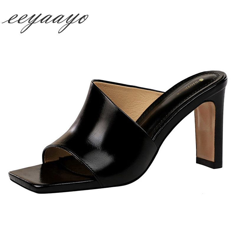 2019 New Summer <font><b>Women</b></font> Mules <font><b>Slippers</b></font> <font><b>High</b></font> Square <font><b>Heel</b></font> Solid Fashion <font><b>Sexy</b></font> Ladies <font><b>Women</b></font> <font><b>Shoes</b></font> Black Outside Female <font><b>Slippers</b></font> image