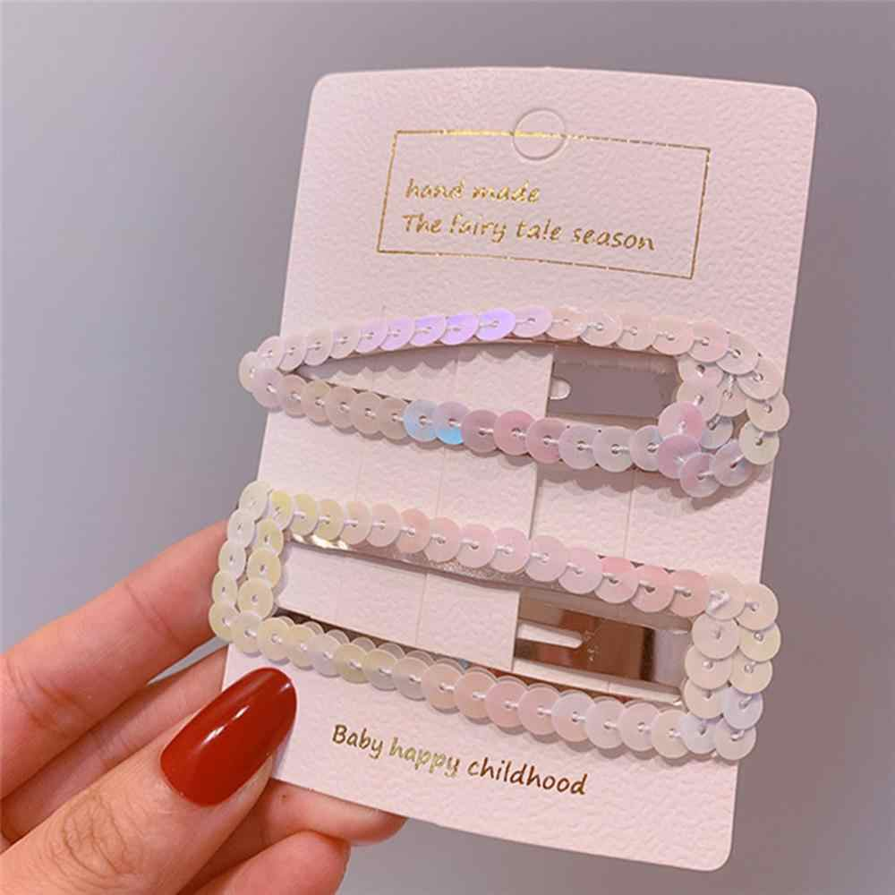 2019 INS Fashion Korean Colorful Waterdrop Sequin Gradient Hair Clips For Women Girls BB Hairpin Barrettes Hair Accessories