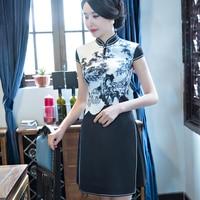 Women Mini Sexy Chinese Qipao Dress Novelty Print Flower Slim Satin Cheongsam Lady 2018 New Vietnam