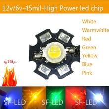 5PCS 5W High power led chip light emitting diodes 6v 12v 5w warm white, white Red / Green/Blue lamp for DIY flashlight