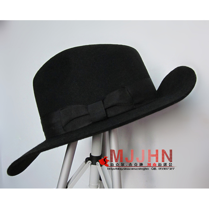 c1a0f3da2 US $41.99 30% OFF|MJ Michael Jackson Billie Jean With Name Black FEDORA  Wool Hat Trilby Collection for Performance Party Show Imitation Gift-in  Men's ...