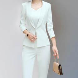 Индивидуальные Новые Модные женские Тонкий костюм два-Костюм из нескольких предметов (куртка + Штаны) женские деловые деловой костюм