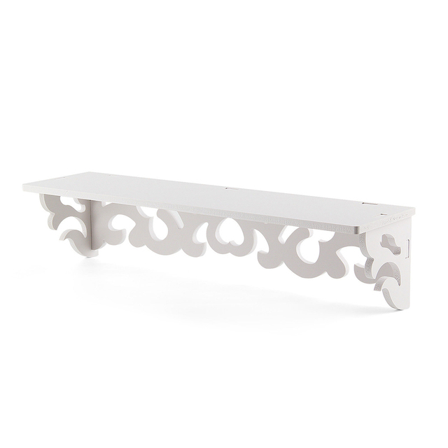Set Of 2 White Shabby Chic Filigree Style Shelves Cut Out Design Wall Shelf Home