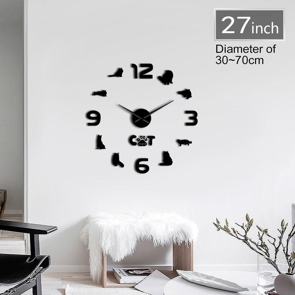 Modern Ragdoll Cat Sketch 3D DIY Wall Clock Animals Acrylic Simple Silent  Clock Watch Living Room Unique Mirror Surface Design