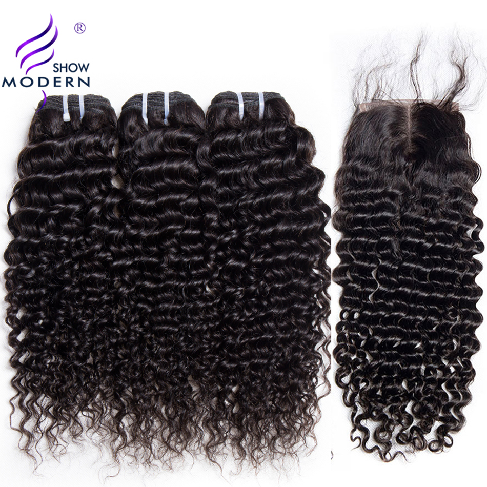 Deep Wave 3 Bundles with Closure Brazilian Hair Weave Modern Show Hair Human Hair Bundles with Closure Free Part Lace Non Remy