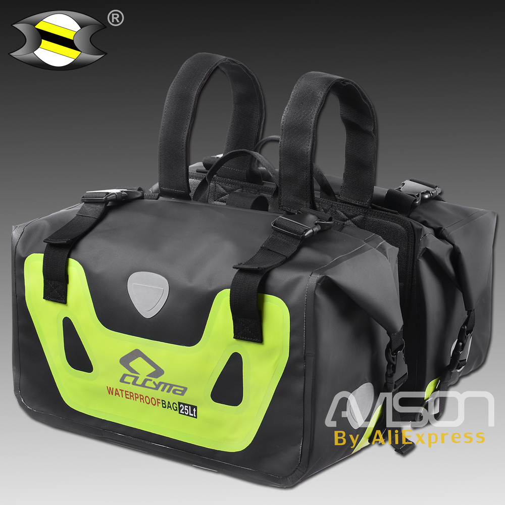 Universal Motorcycle Waterproof saddle bag Luggage Double Seat racing travel outdoor package big space with rain cover