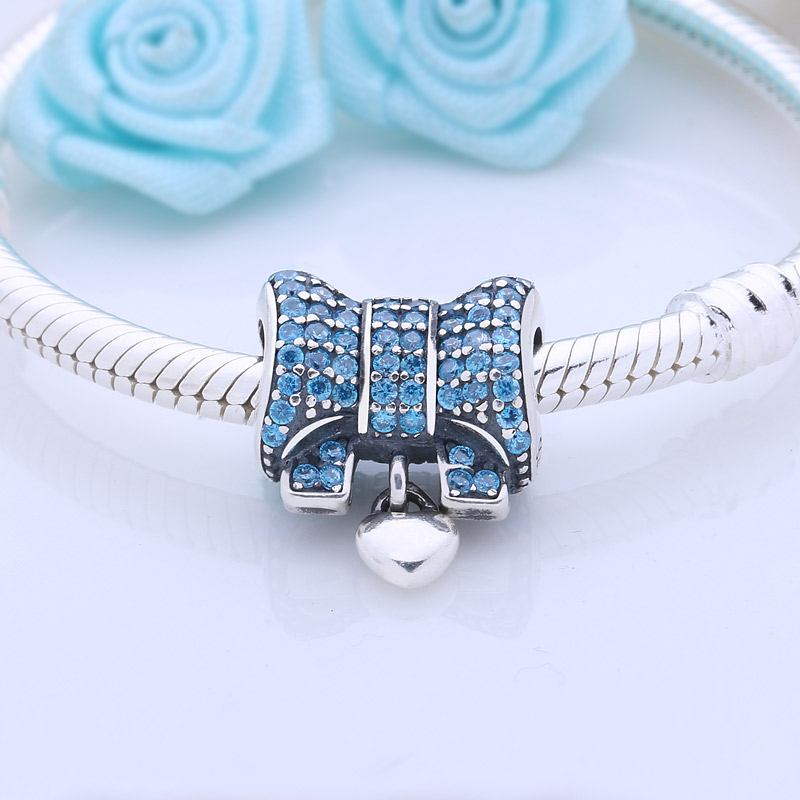 Bow Pave Sky Blue Rhinestone Beads Fit DIY Bracelets 925 Sterling Silver  knot Charms For Lover Women Gift Original Jewelry-in Beads from Jewelry ... 831f447bbf2c