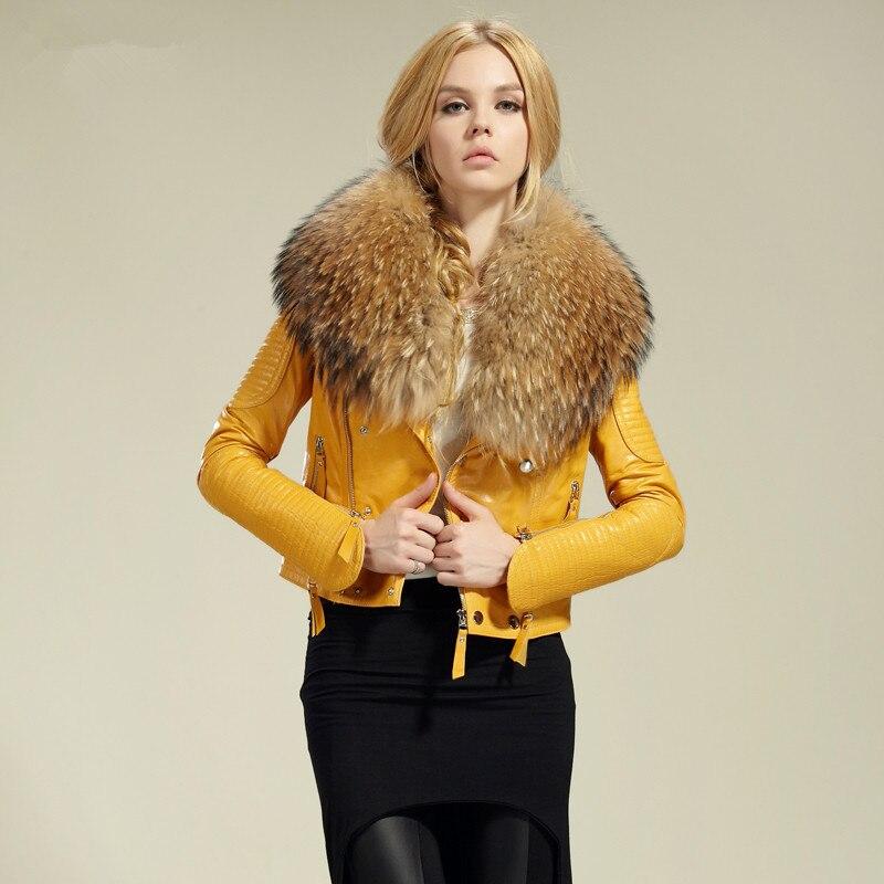 Free shipping genuine women sheep leather jacket 100 real sheep leather jacket with raccoon fur collar