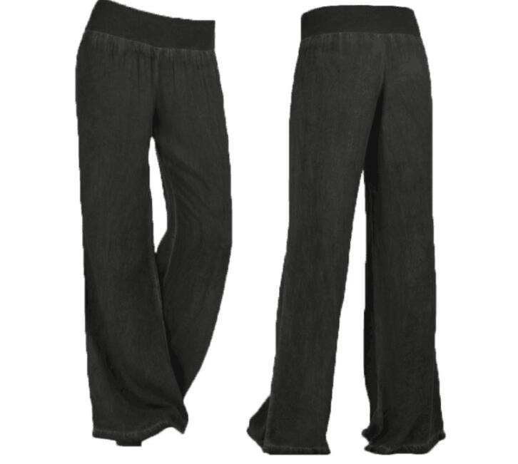Women High Waist Pants Plus Size Long Trouser Female Casual Loose Denim Blue Black Wide Leg Pant Work Trouses