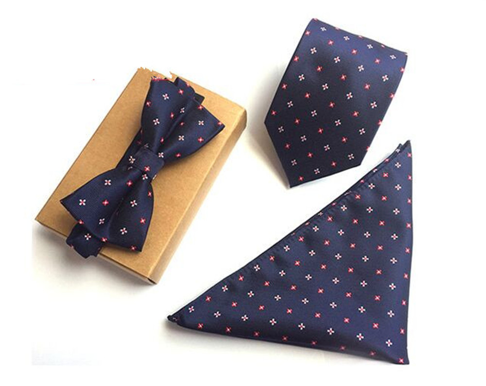 Apparel Accessories 100% Quality Scst Brand 2017 New Paisley Print Blue Mens Neckties Silk Ties For Men Handkerchief And Bow Tie With Match Tie 3pcs Set A054 Carefully Selected Materials