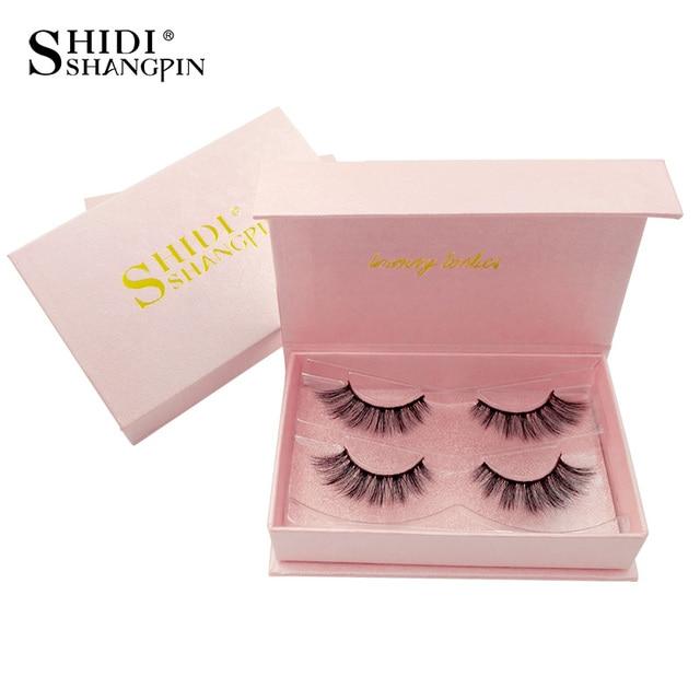 SHIDISHANGPIN 2 pairs mink eyelashes hand made eyelash extension natural long 3d mink lashes 1 box 3d false eyelashes maquiagem