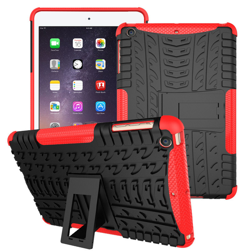 HOT New Brand for Apple ipad Air 2 i pad 6 Case Hybrid Armor Shockproof Rugged Dual-Layer Cover for Ipad 6 with Kickstand Cases