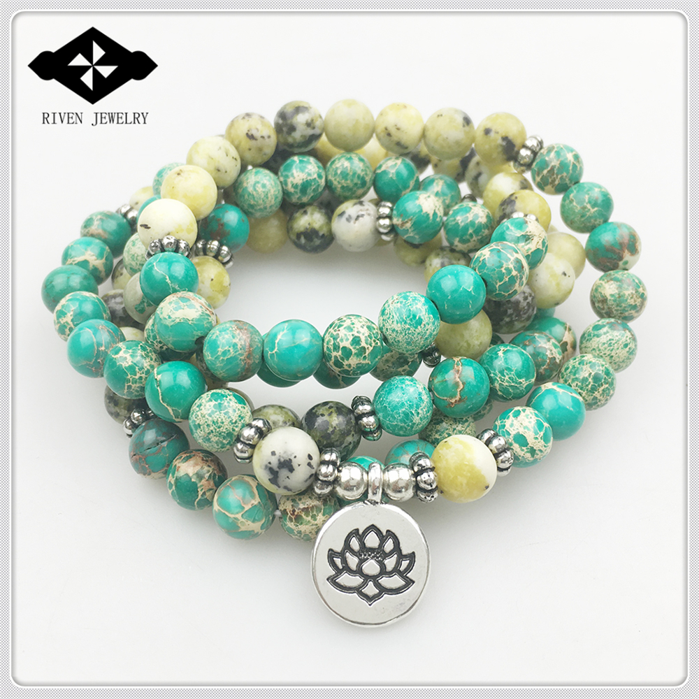 SN1170 New Arrival Women 108 Mala Bracelet Lotus Yellow Howlite Yoga Necklace High Quality Meditation Spiritual
