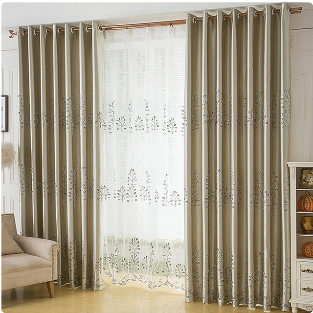 Online Shop Luxury Modern Embroidered Golden Curtains Tulle For ...