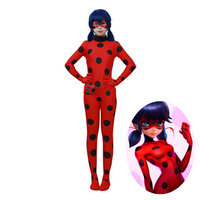 Novelty Cosplay Costume Cartoon Anime Miraculous Ladybug Marinette Dots Zipper Overall Zentai Tight Suit With Eye