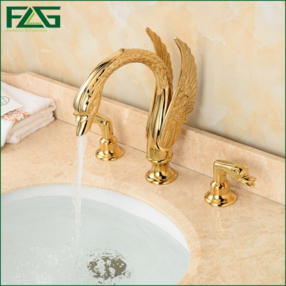 FLG Wholesale And Retail Deck Mounted Bathroom Faucet Swan Spout Sink Mixer Tap Golden Brass 3 Holes Robinet,Free Shipping 312 us free shipping wholesale and retail chrome finish bathrom sink basin faucet mixer tap dusl handle three holes wall mounted