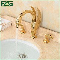 FLG Wholesale And Retail Deck Mounted Bathroom Faucet Swan Spout Sink Mixer Tap Golden Brass 3