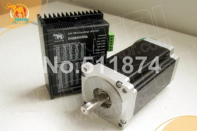Great CNC! Wantai Nema34 Stepper Motor 85BYGH450D-007 890oz-in+Driver DQ860MA 7.8A 80V 256Micro CNC Router Milling Laser Machine [usa for free] wantai 5pcs stepper motor driver dq860ma 80v 7 8a 256micro cnc router mill cut engraving grind foam embroidery