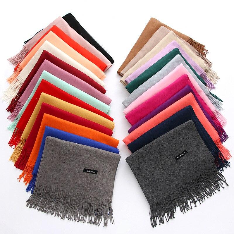 2018 mujeres gruesas bufanda sólida cálida bufandas de invierno cachemira pashmina señora chales envuelve pañuelo largo suave echarpe foulard cachecol