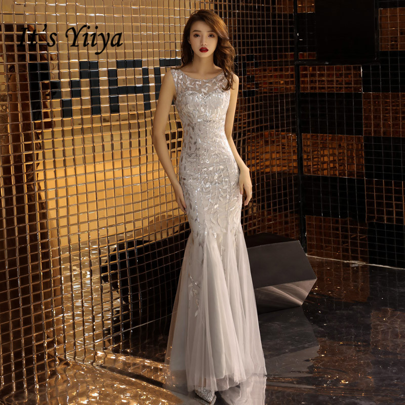 It's YiiYa Evening Dress Sliver Gray O-neck Sleeveless Fashion Formal Trumpet Gown Embroidery Skinny Long Party Dresses E047